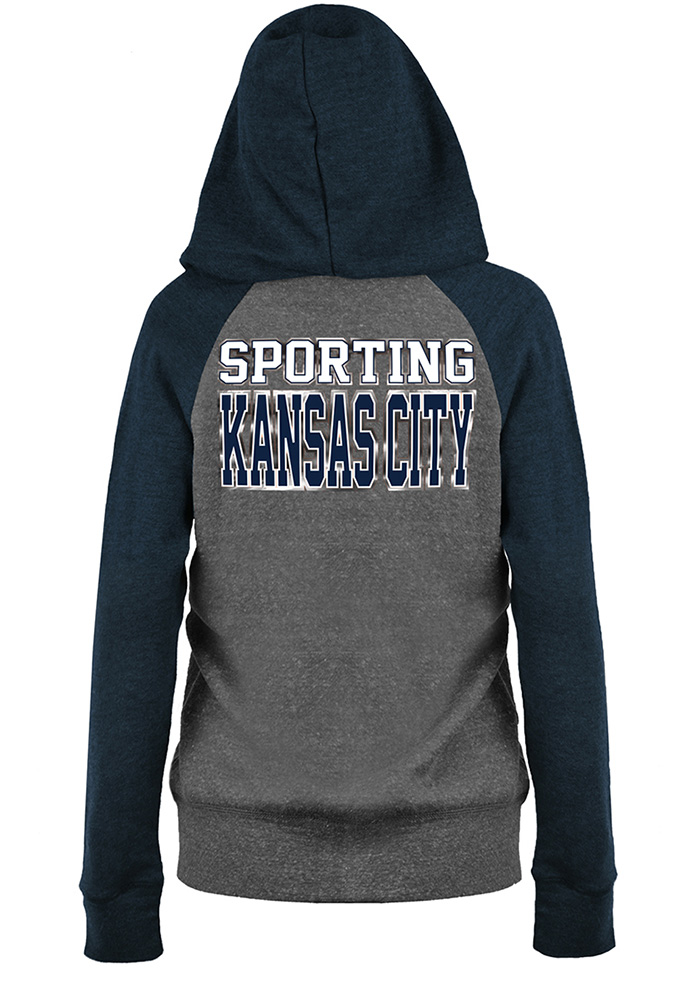 Sporting Kansas City Womens Grey Foil Long Sleeve Full Zip Jacket - Image 2