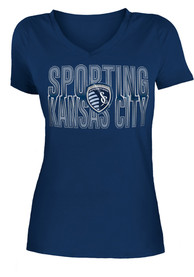 Sporting Kansas City Womens Navy Blue Glitter Gel V-Neck