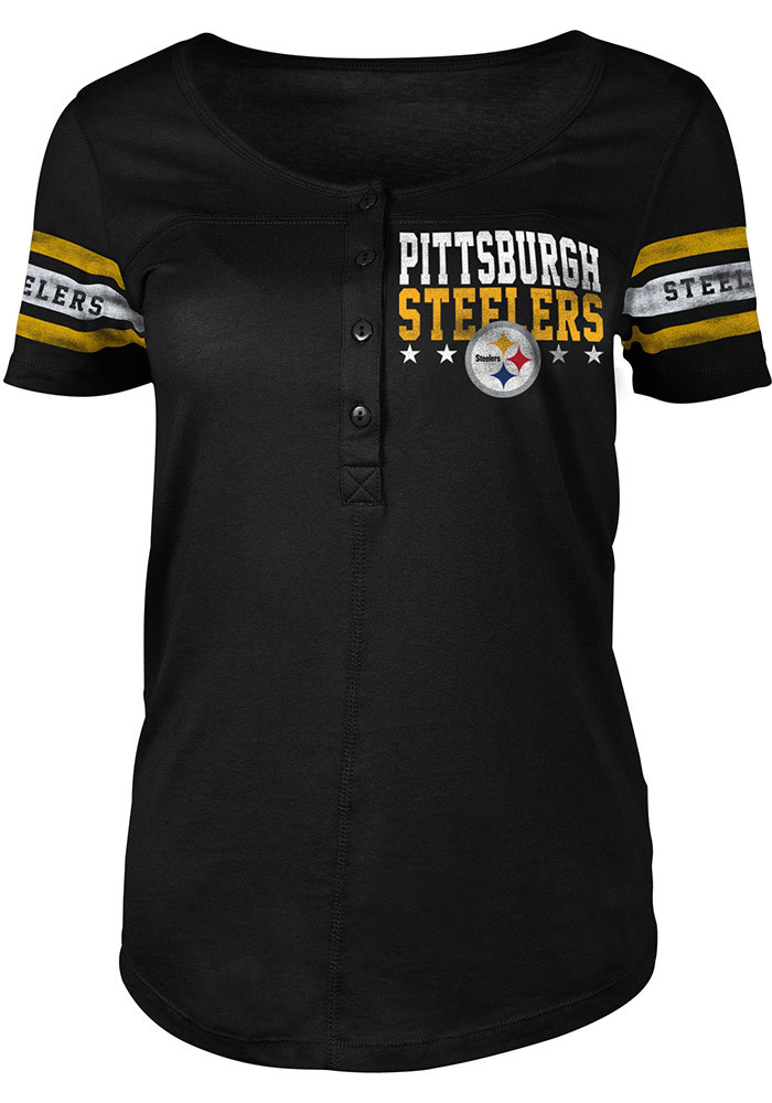 Pittsburgh steelers womens black athletic henley scoop t for Pittsburgh t shirt printing