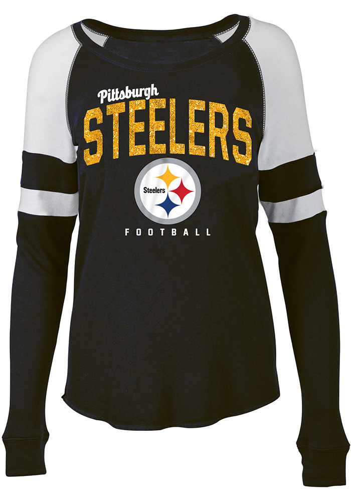 Pittsburgh Steelers Womens Black Holiday Glitter Women's Scoop