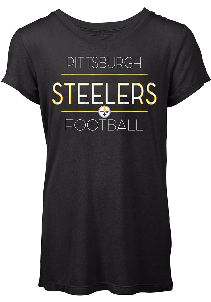 Pittsburgh Steelers Womens Black Novelty T-Shirt