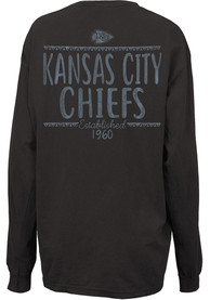 Kansas City Chiefs Womens Hand Written Grey LS Tee