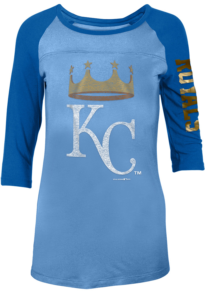KC Royals Womens Light Blue Athletic Long Sleeve Scoop Neck - Image 1
