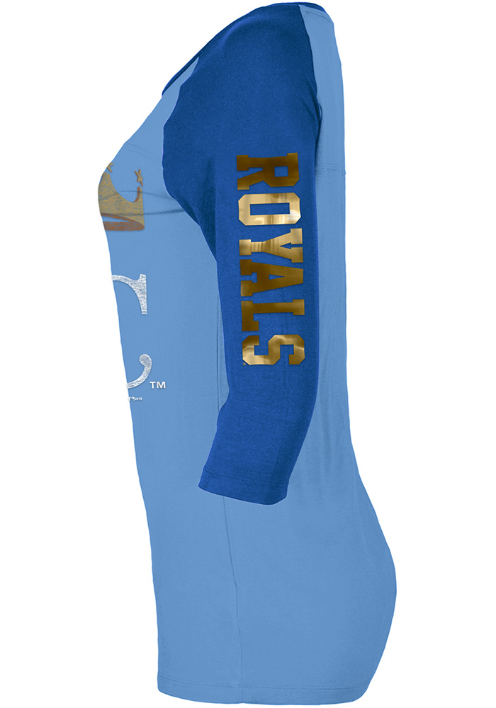 KC Royals Womens Light Blue Athletic Long Sleeve Scoop Neck - Image 2