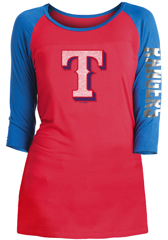Texas Rangers Womens Red Athletic Long Sleeve Scoop Neck - Image 1