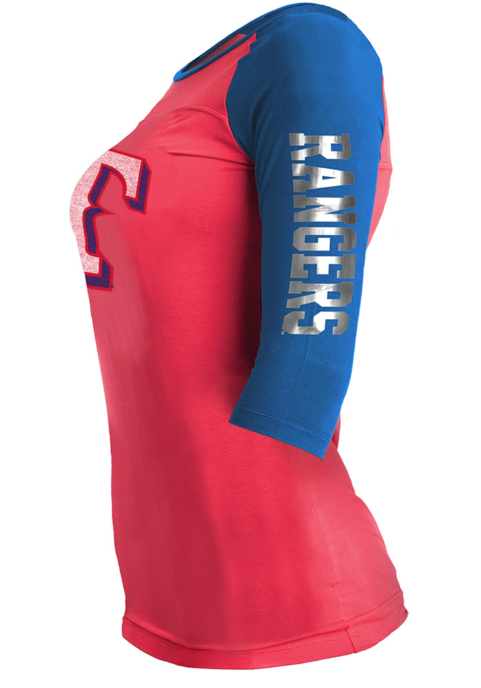 Texas Rangers Womens Red Athletic Long Sleeve Scoop Neck - Image 2