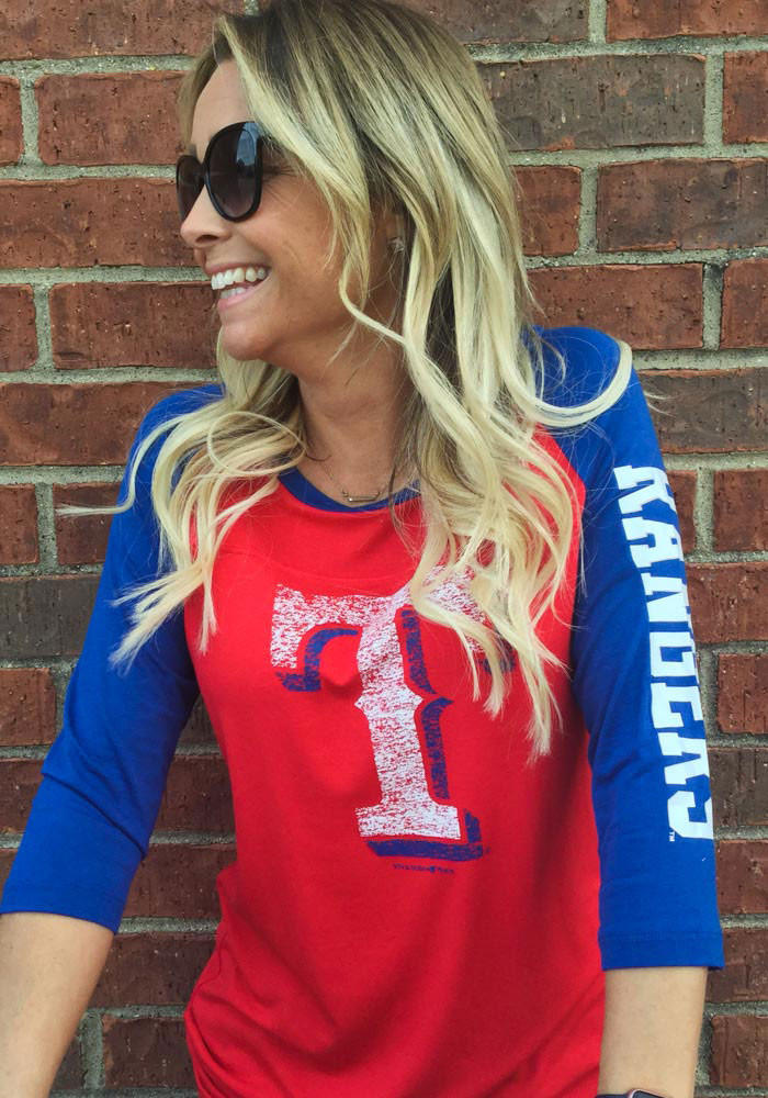 Texas Rangers Womens Red Athletic Long Sleeve Scoop Neck - Image 3