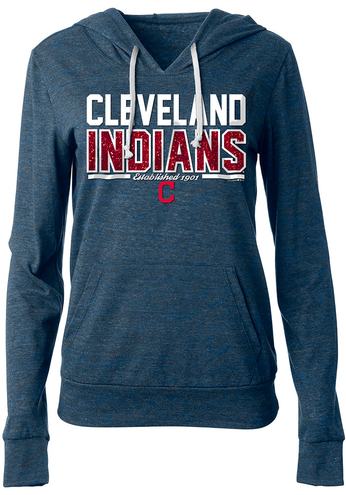 Cleveland Indians Womens Navy Blue Tri Blend Hoodie