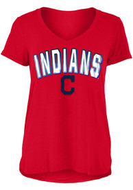 Cleveland Indians Womens Red Athletic T-Shirt