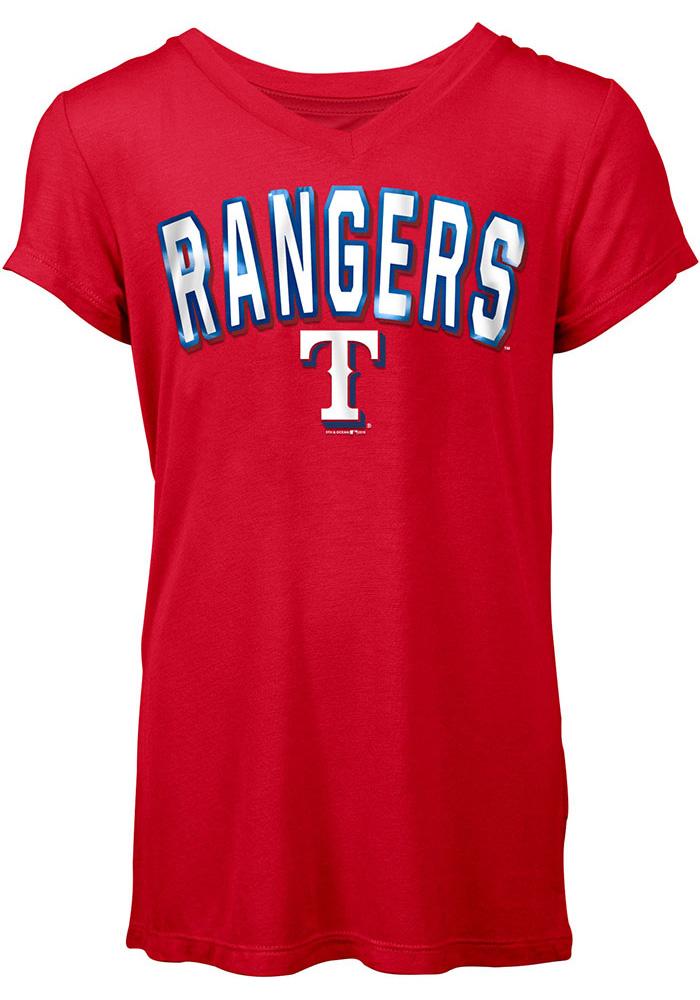 Texas Rangers Womens Red Athletic V-Neck - Image 1