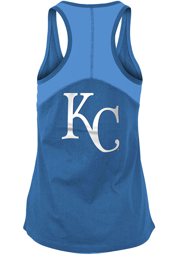 Kansas City Royals Womens Blue Athletic Tank Top - Image 2