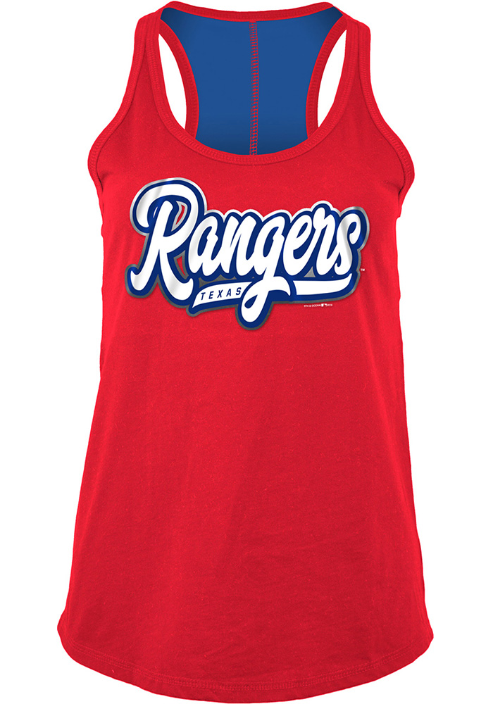Texas Rangers Womens Red Athletic Tank Top - Image 1