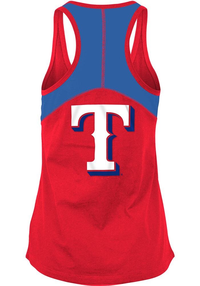 Texas Rangers Womens Red Athletic Tank Top - Image 2