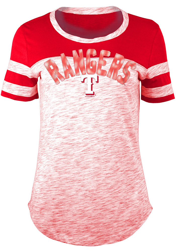 Texas Rangers Womens Red Novelty Scoop T-Shirt - Image 1