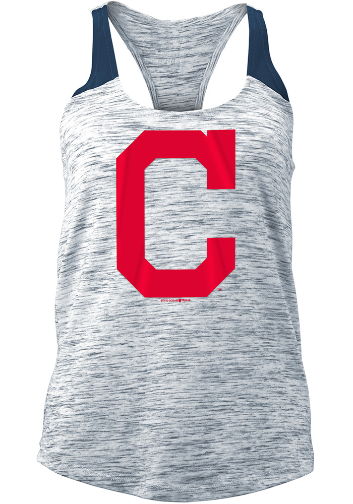 Cleveland Indians Womens Navy Blue Novelty Tank Top - Image 1