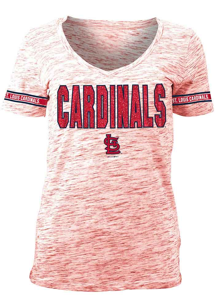 St Louis Cardinals Womens Red Novelty V-Neck T-Shirt - Image 1