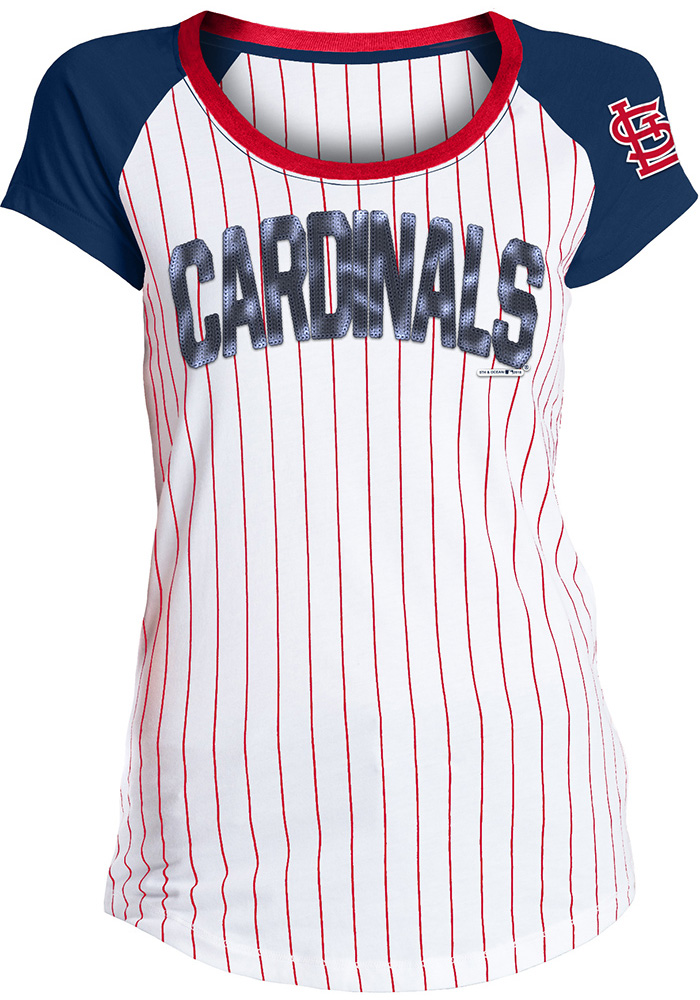 St Louis Cardinals Womens White Opening Night Scoop T-Shirt - Image 1