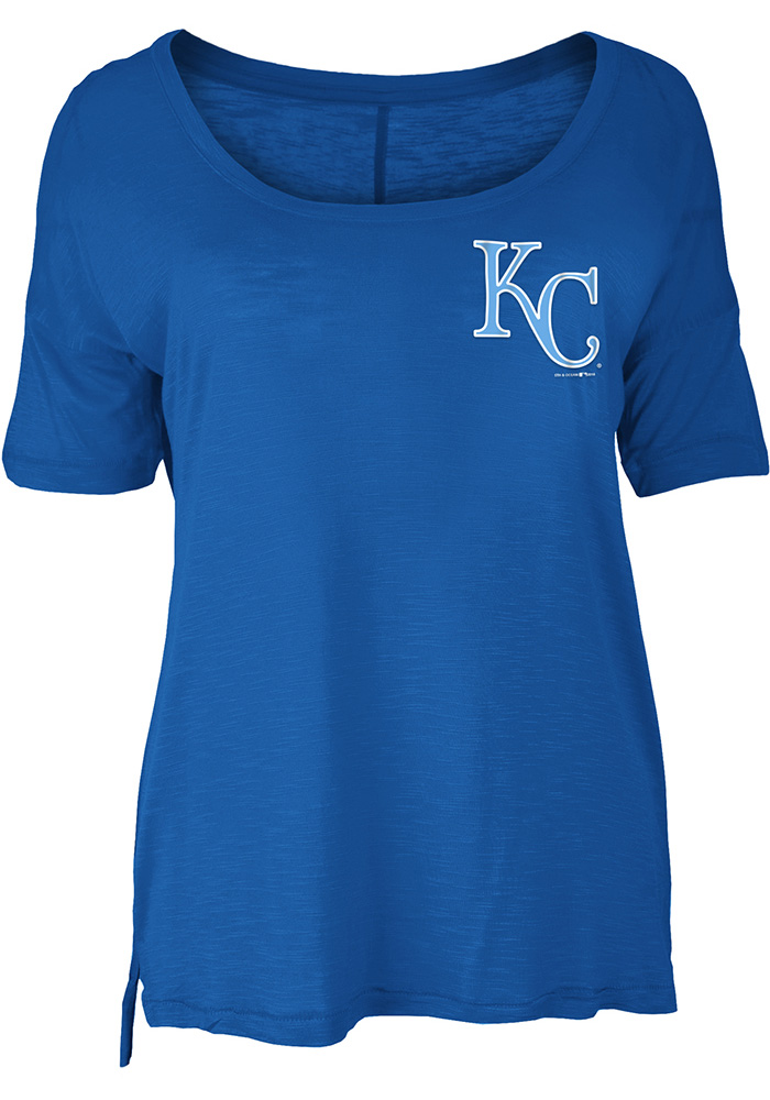 Kansas City Royals Womens Blue Slub Short Sleeve Scoop - Image 1