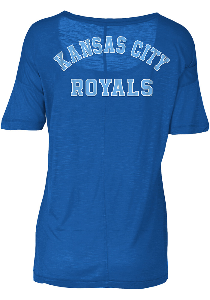 Kansas City Royals Womens Blue Slub Short Sleeve Scoop - Image 2