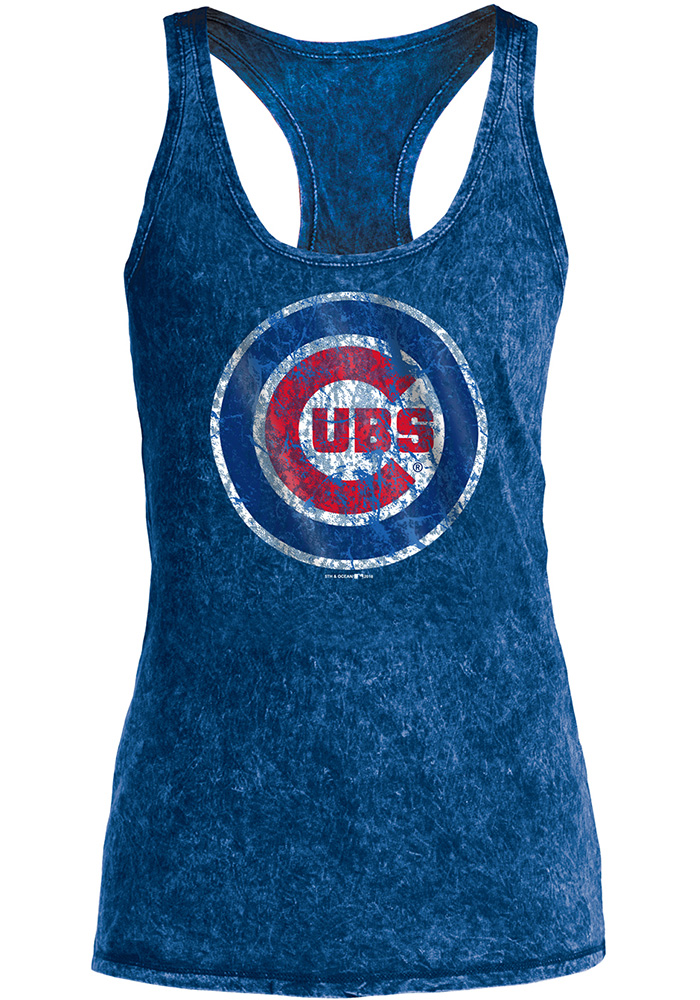 Chicago Cubs Womens Blue Washes Tank Top - Image 1
