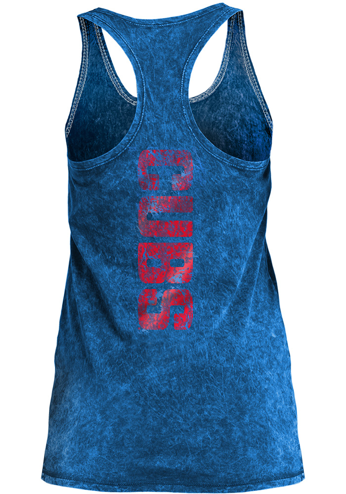 Chicago Cubs Womens Blue Washes Tank Top - Image 2