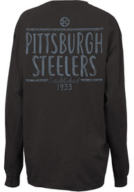 Pittsburgh Steelers Womens Hand Written Grey LS Tee