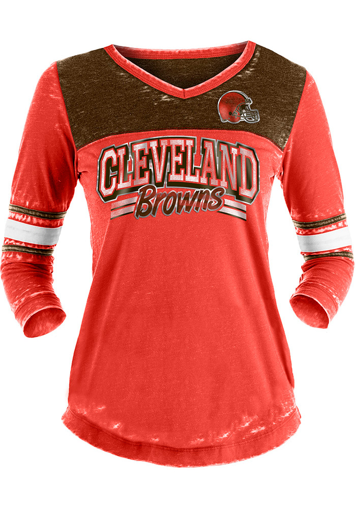 Cleveland Browns Womens Red Washes LS Tee - Image 1