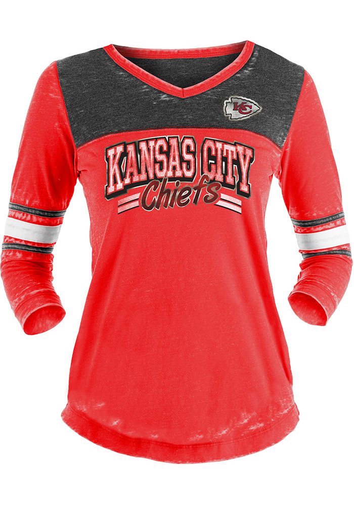Kansas City Chiefs Womens Red Washes LS Tee - Image 1