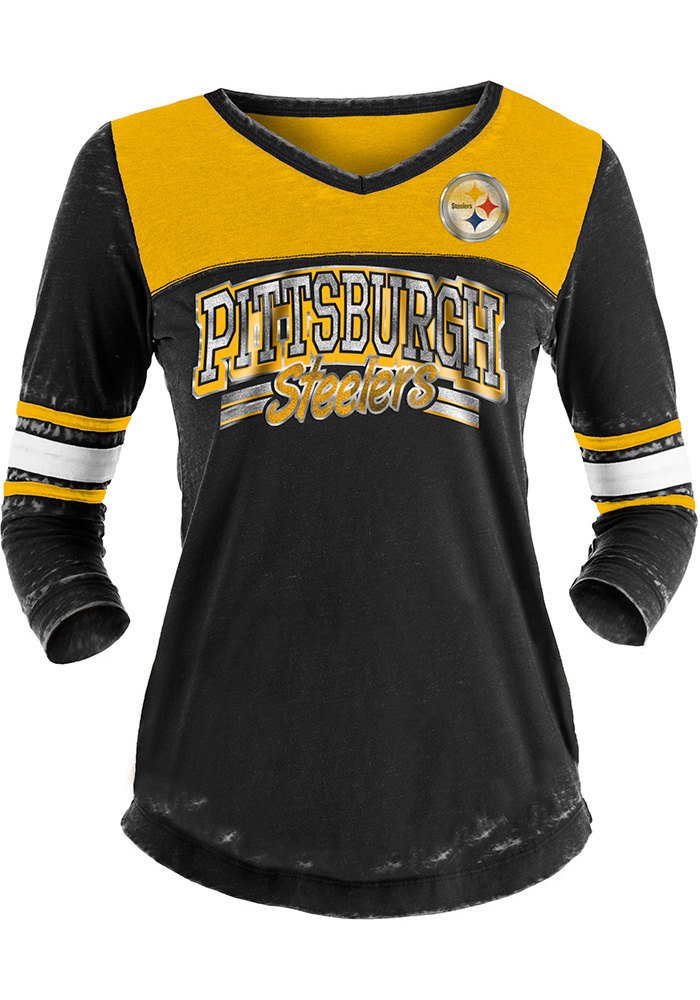 Pittsburgh Steelers Womens Black Washes LS Tee - Image 1