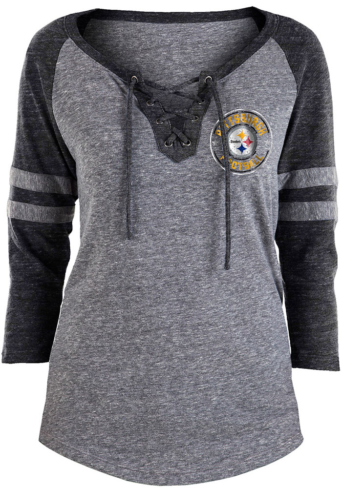 Pittsburgh Steelers Womens Grey Triblend LS Tee - Image 1