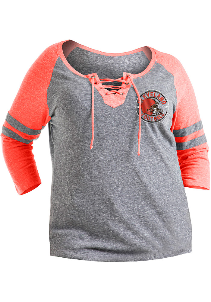 Cleveland Browns Womens Grey Triblend LS Tee - Image 1