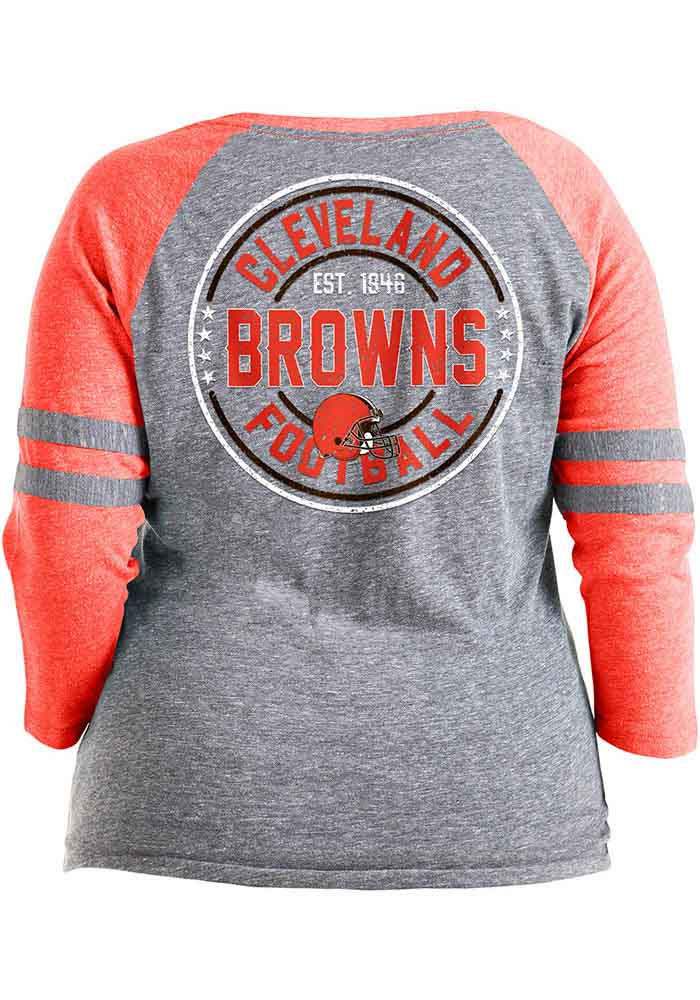 Cleveland Browns Womens Grey Triblend LS Tee - Image 2