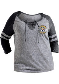 Pittsburgh Steelers Womens Triblend Charcoal LS Tee