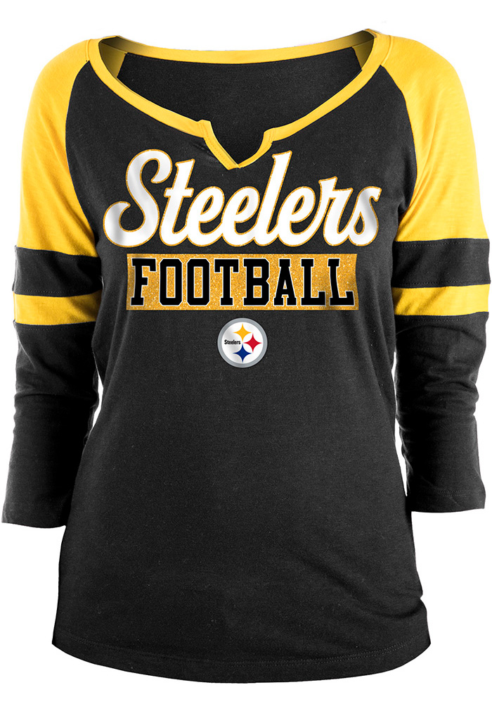 Pittsburgh Steelers Womens Black Slub LS Tee - Image 1