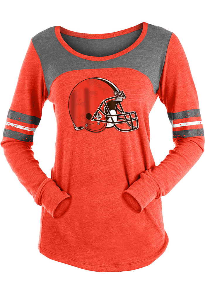 Cleveland Browns Womens Red Triblend LS Tee - Image 1