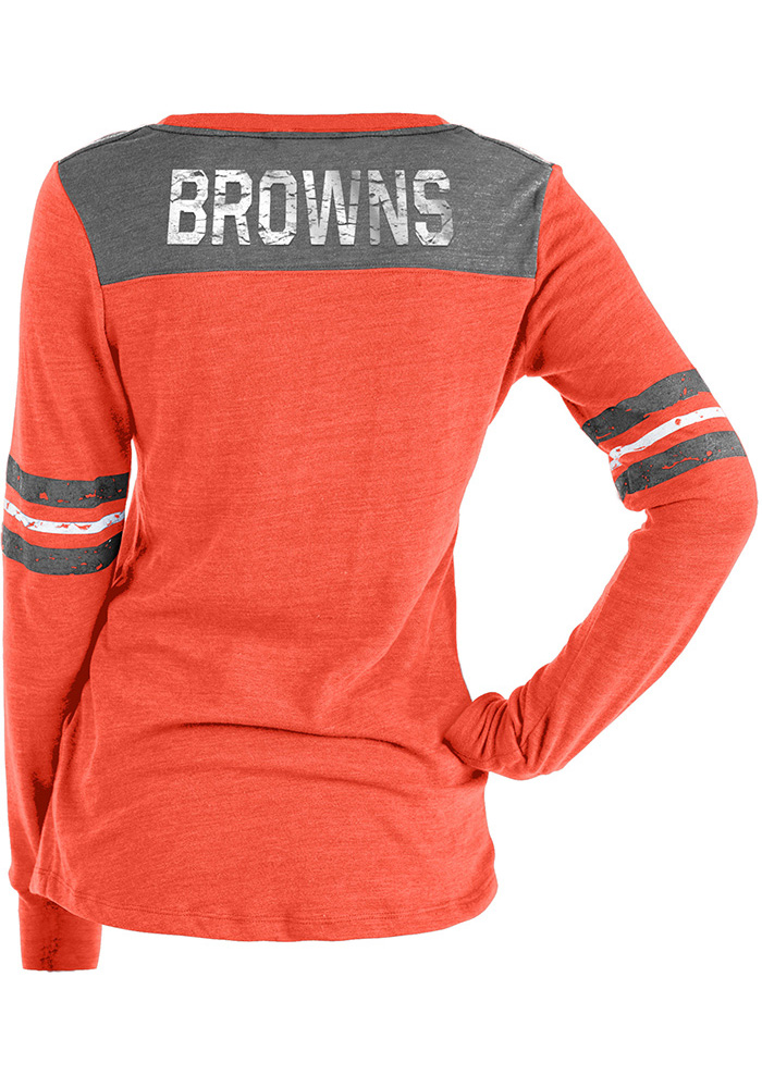 Cleveland Browns Womens Red Triblend LS Tee - Image 2