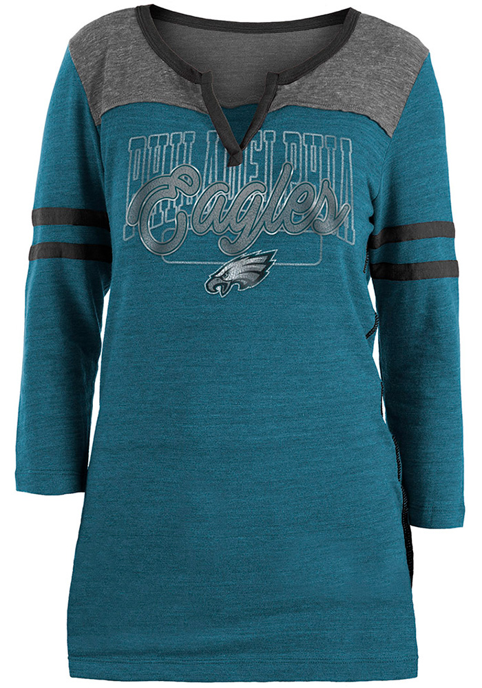 Philadelphia Eagles Womens Teal Triblend LS Tee - Image 1