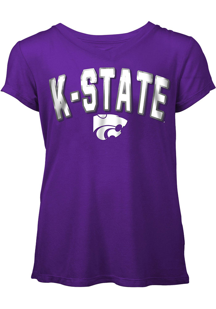 K-State Wildcats Womens Rayon Foil Purple Short Sleeve Plus Tee