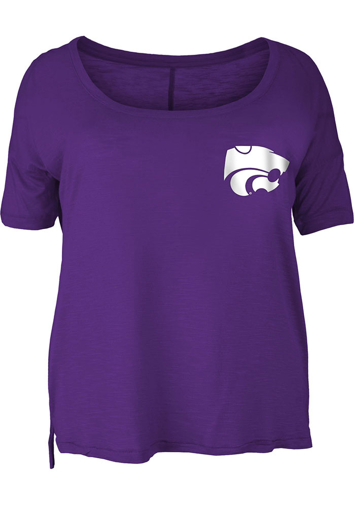 K-State Wildcats Womens Left Chest Back Hit Purple Short Sleeve Plus Tee