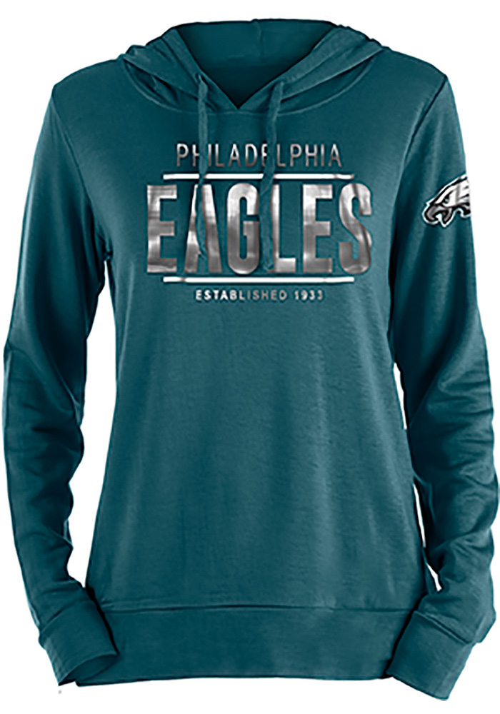 Philadelphia Eagles Womens Teal Novelty Hooded Sweatshirt - Image 1