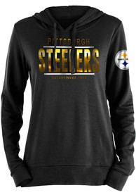 Pittsburgh Steelers Womens Novelty Hooded Sweatshirt - Black