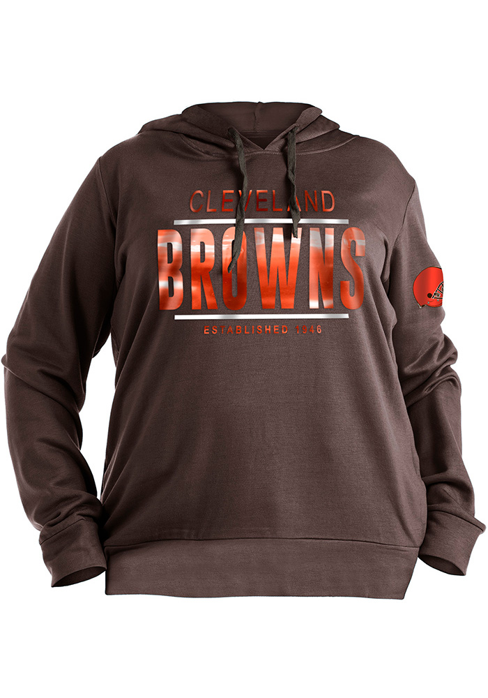 Cleveland Browns Womens Brown Novelty Hooded Sweatshirt - Image 1