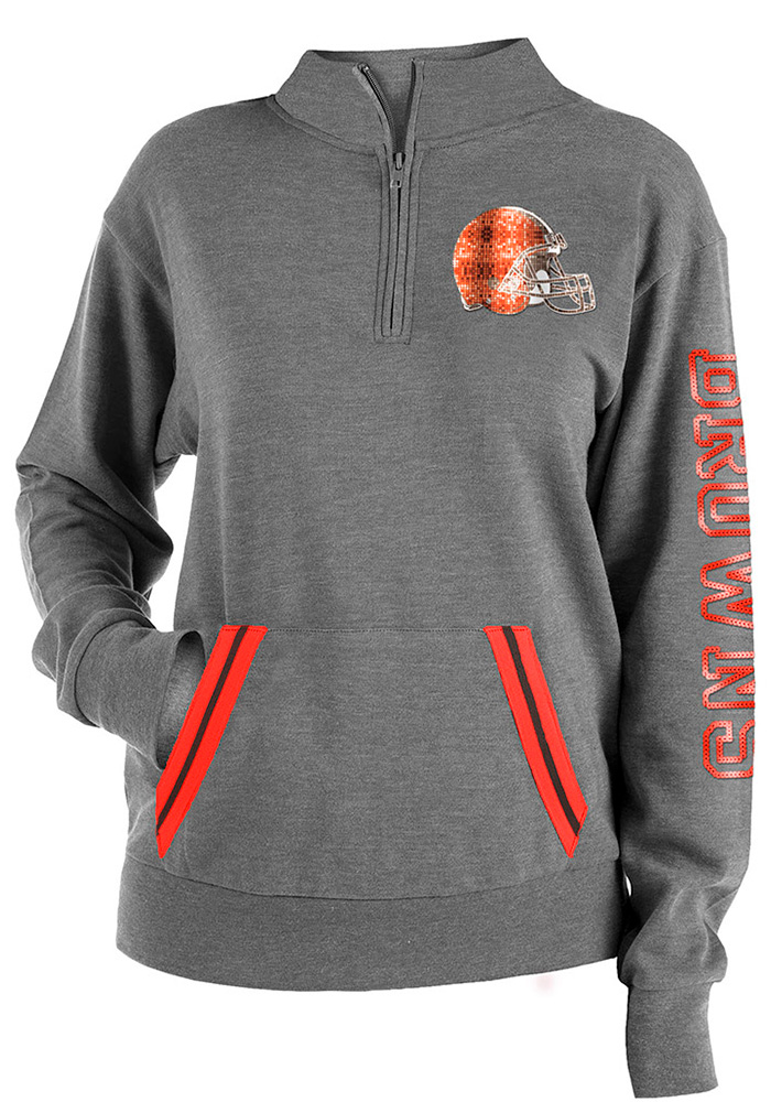 Cleveland Browns Womens Grey Triblend 1/4 Zip Pullover - Image 1
