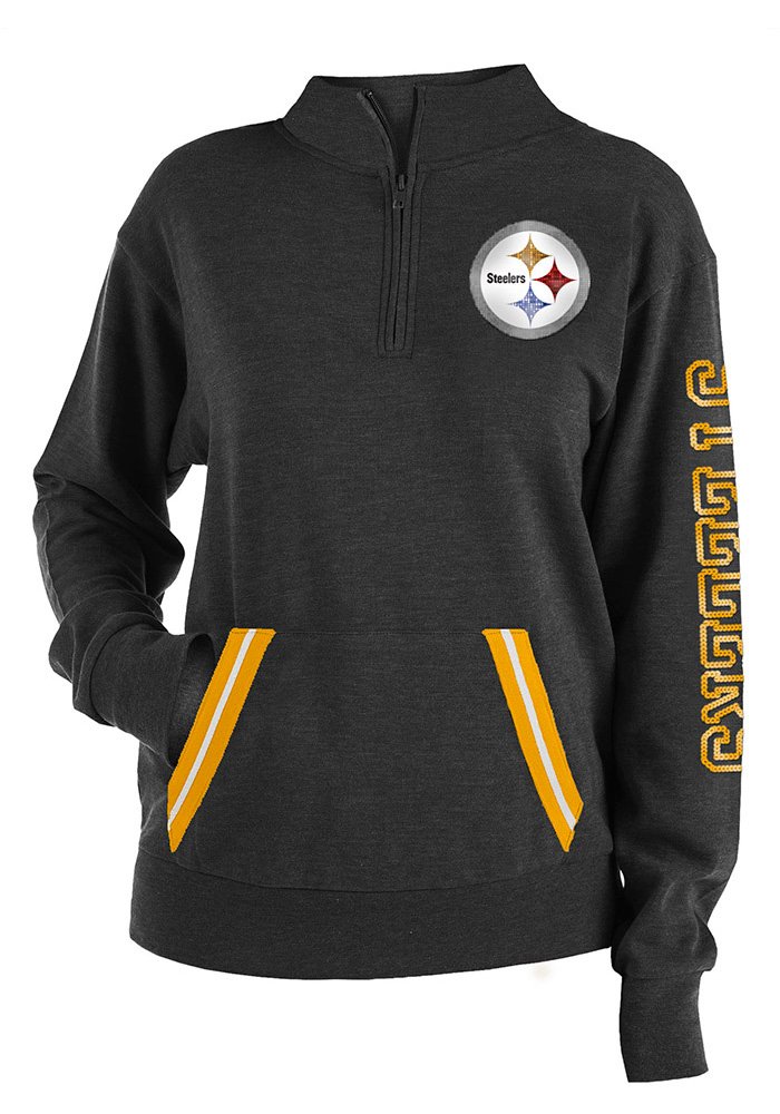 Pittsburgh Steelers Womens Black Triblend 1/4 Zip Pullover - Image 1