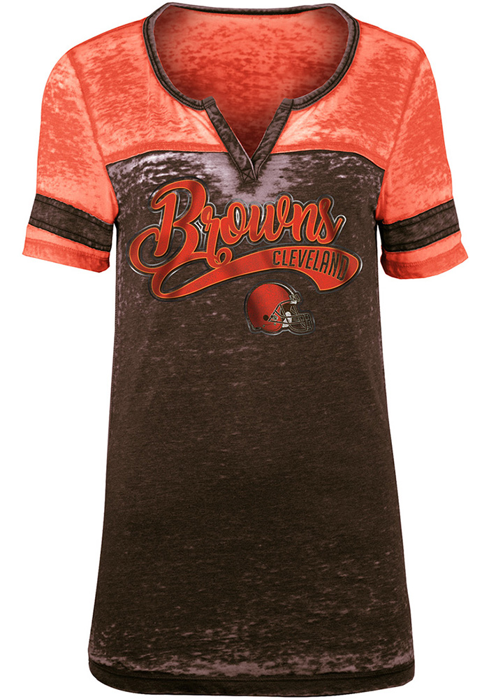 Cleveland Browns Womens Brown Washes Short Sleeve T-Shirt - Image 1