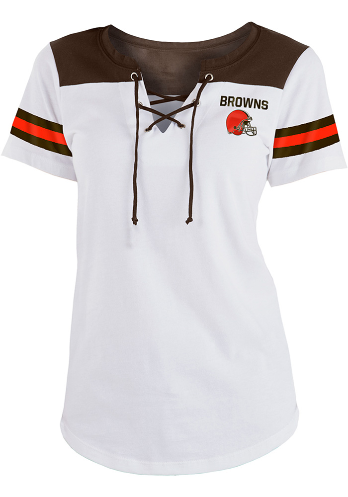 9faeb6965f1 Cleveland Browns Womens White Athletic Short Sleeve T-Shirt - 88882610