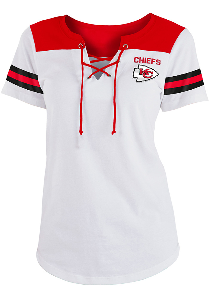 Kansas City Chiefs Womens White Athletic Short Sleeve T-Shirt - Image 1