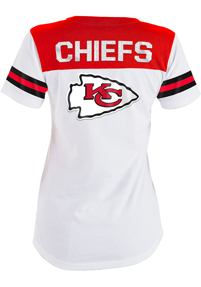 Kansas City Chiefs Womens White Athletic Short Sleeve T-Shirt - Image 2