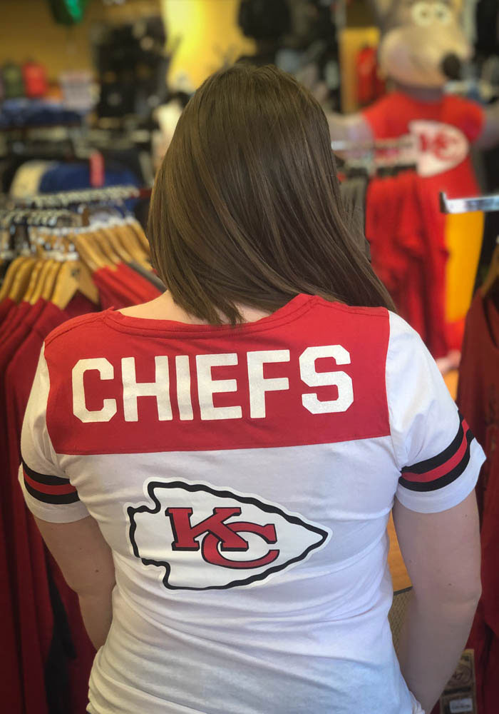 Kansas City Chiefs Womens White Athletic Short Sleeve T-Shirt - Image 4