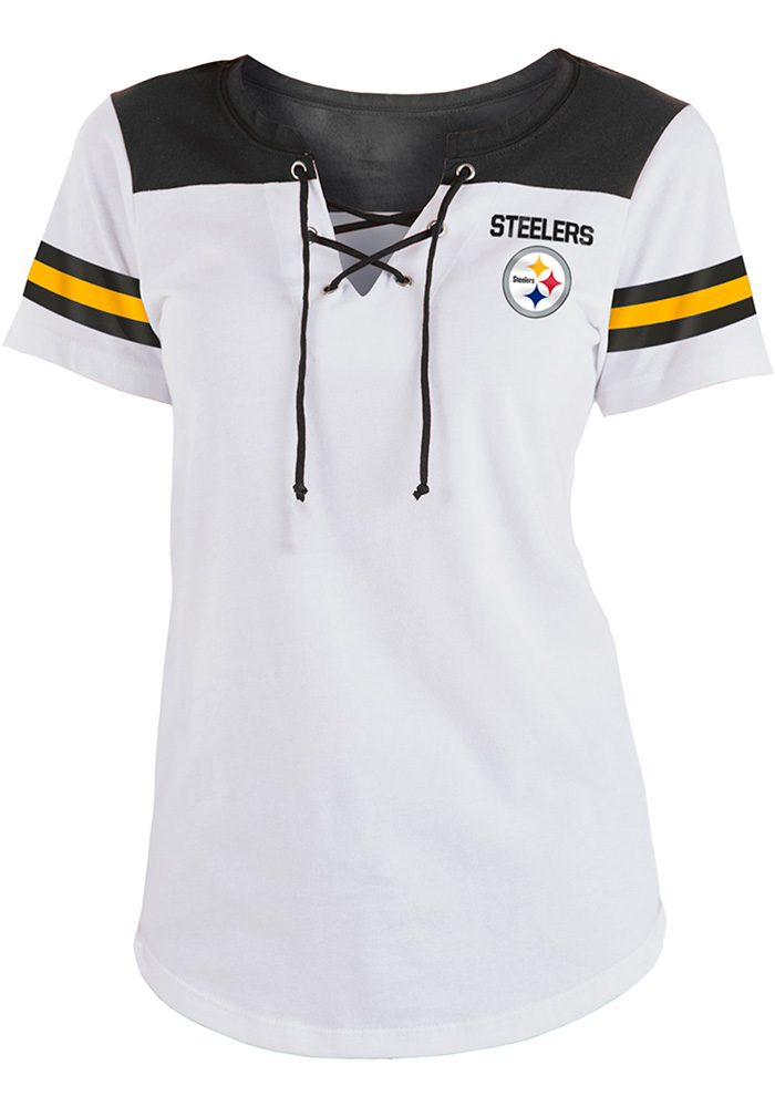 Pittsburgh Steelers Womens White Athletic Short Sleeve T-Shirt - Image 1